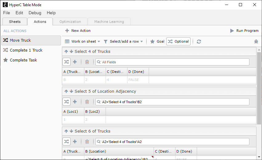 Actions graphical interface